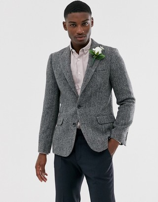 Asos Design DESIGN Harris Tweed slim blazer with wool herringbone in gray