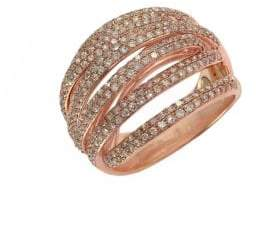 Effy 14K Rose Gold & Diamond Multi Row Band Ring