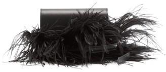 Marques Almeida Feather-trimmed Leather Belt Bag - Black