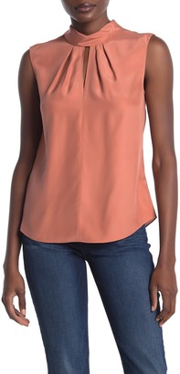 Tailored by Rebecca Taylor Sleeveless Mock Neck Silk Blouse