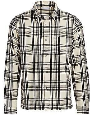 John Elliott Men's Straight Hem Cotton Plaid Shirt