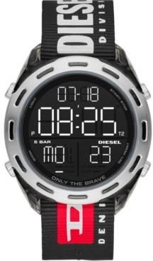 Diesel Men's Digital Crusher Black Nylon Strap Watch 46mm