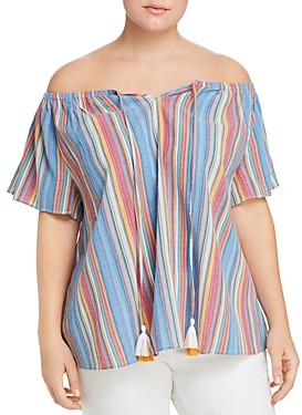 Seven7 Striped Off-the-Shoulder Top