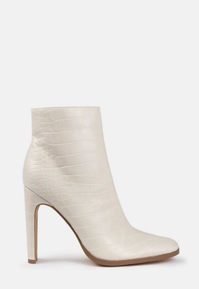 Missguided Cream Mock Croc Heeled Ankle Boots