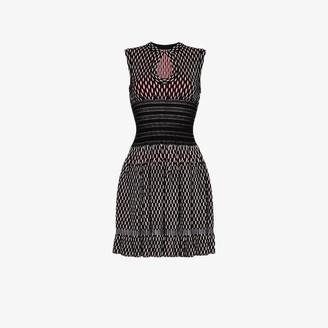 Alaia Womens Black Sleeveless Knitted Wool Blend Mini Dress