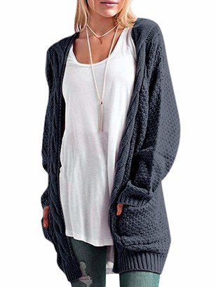 CNFIO Womens Long Sleeve Sweater Cardigan Open Front Loose Chunky Outwear with Pockets Dark Grey X-Large/UK 16