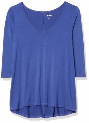 Three Dots Women's 3/4 Sleeve Soft V-Neck Drapey Tee