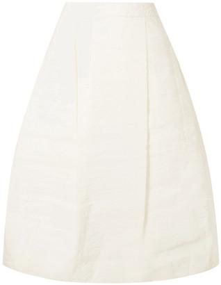 Simone Rocha Pleated Crinkled-taffeta Midi Skirt