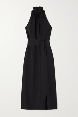 ARoss Girl x Soler Gretchen Belted Silk Crepe De Chine Halterneck Maxi Dress - Black