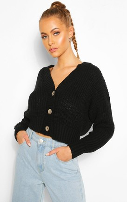boohoo Chunky Knit Crop Cardigan