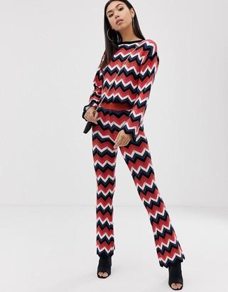 Asos Design DESIGN chevron crochet two-piece flares