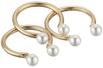 Lucky Brand Adjustable Pearl Ring Stack (Gold) Ring