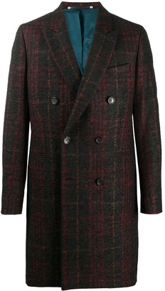Paul Smith Check Pattern Double-Breasted Coat