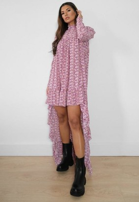 Missguided Pink Floral High Low Midi Dress