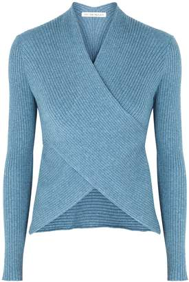 Live The Process Blue Wrap-effect Cotton-blend Top