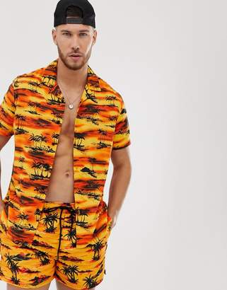 New Look shirt with in orange palm print