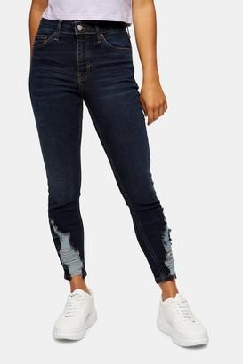 Topshop Womens Petite Blue Black Hem Detail Jamie Skinny Jeans - Blue Black