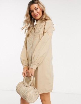 Pieces poplin shirt dress with lace detail in beige