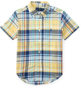 Ralph Lauren Short-Sleeve Madras Plaid Cotton Shirt, Yellow/Green/Multicolor, Size 5-7