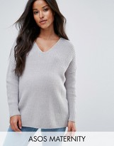 Asos Ultimate Chunky Jumper With V Neck