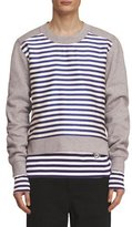 Burberry Brushed Jersey Sweatshirt with Striped Silk-Cotton Panel, Gray/Navy/White
