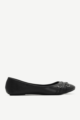 Ardene Faux Leather Flats with Buckle Detail