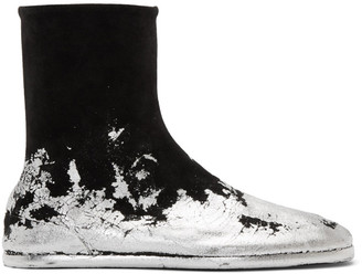 Maison Margiela Black and Silver Foil Suede Flat Tabi Boots
