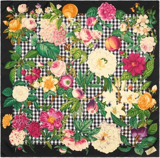 Gucci Flowers and fruits print silk scarf