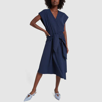 Tibi Chalky Drape Sleeveless Wrap Dress