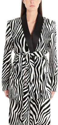 Sara Battaglia Zebra Print Belted Blazer