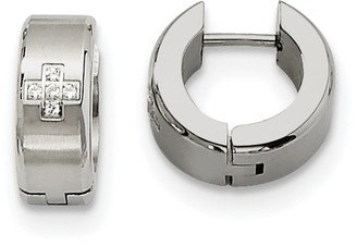 Chisel Stainless Steel Cubic Zirconia Brushed and Polished Hinged Hoop Earrings