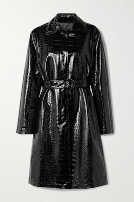 Philosophy di Lorenzo Serafini Belted Croc-effect Vegan Patent-leather Coat - Black