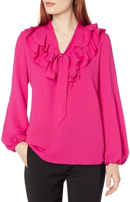 Kasper Women's Long Sleeve Ruffle TIE Neck Blouse