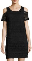Neiman Marcus Cold-Shoulder Lace Shift Dress, Black