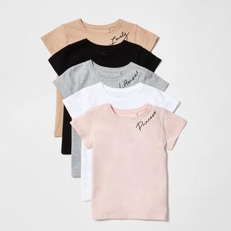 River Island Mini girls Pink printed T-shirts 5 pack