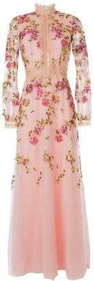 Costarellos flower-embroidered gown