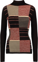 Autumn Cashmere Ribbed intarsia cashmere turtleneck sweater