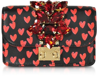 Gedebe Mini Cliky Nappa Printed Red Hearts Clutch w/Chain Strap
