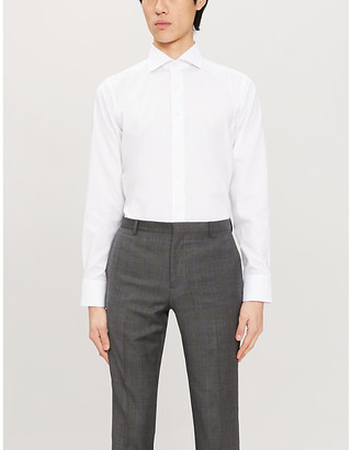Canali Spread collar slim cotton shirt