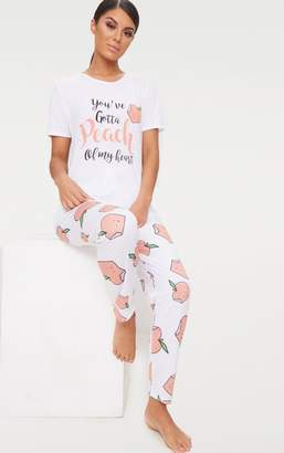 PrettyLittleThing White You've Gotta Peach Long PJ Set