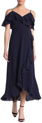 London Times Ruffle Cold Shoulder Maxi Dress