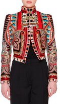 Etro Stand-Collar Embroidered Cropped Jacket, Violet/Multi