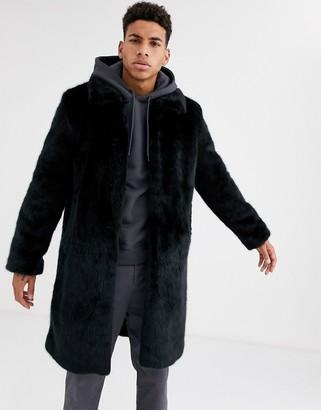 Urban Code Urbancode faux fur overcoat-Black