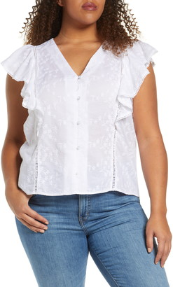 Caslon Embroidered V-Neck Flutter Sleeve Shirt