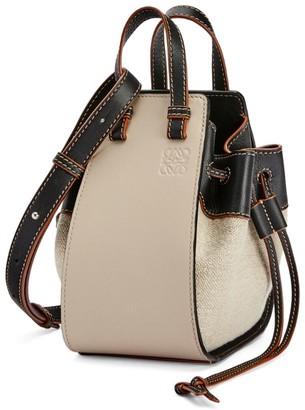 Loewe Mini Leather And Linen Hammock Bag