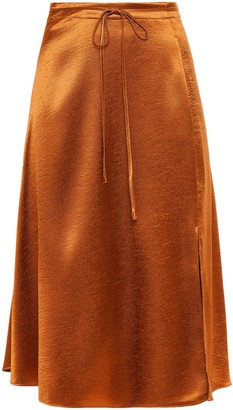 Joie Alberic Hammered Satin-crepe Skirt