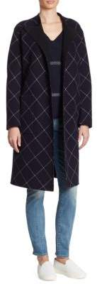 Armani Collezioni Double-Face Wool & Cashmere Windowpane Wrap Coat