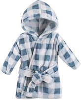 Hudson Baby Boys' Bath Robes Blue - Blue Plaid Hooded Fleece Robe - Newborn