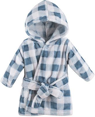 Hudson Baby Boys' Bath Robes Blue - Blue Plaid Hooded Fleece Robe - Newborn