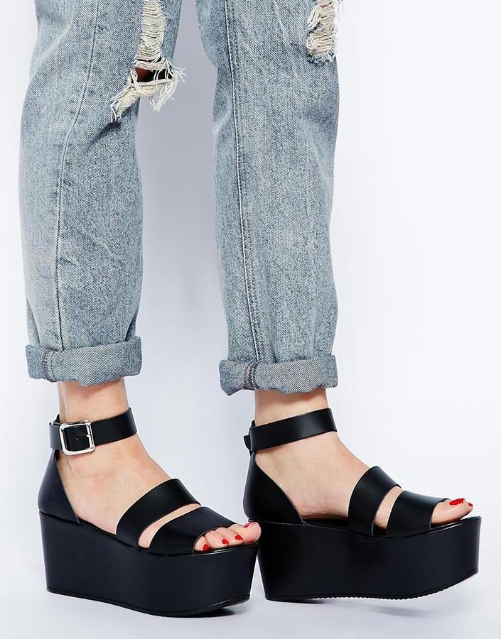 Asos HARVEST TIME Leather Flatform Sandals